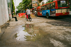 Pavement in Bangkok (explore) (Thanathip Moolvong) Tags: olympus om2 28mm f28 fuji c200 negative film