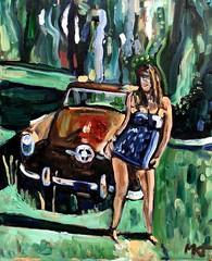 The Studebaker Dance (The Big Jiggety) Tags: oil painting art arte kunst peinture huile oleo lienzo toile car auto voiture dance canvas cyndi woman sexy