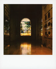 Stained Glass 1 (tobysx70) Tags: polaroid originals color 600 instant film slr680 stained glass hollywood forever cemetery cathedral mausoleum santa monica blvd boulevard angeles la california ca window crypt marble reflection vanishing point route 66 rt rte polawalk 062819 toby hancock photography