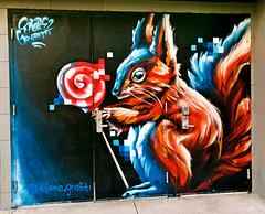 Squirrel Lollipop by Stone Graffiti (wiredforlego) Tags: graffiti mural streetart urbanart aerosolart publicart lasvegas vegas nevada las isigroup stonegraffiti