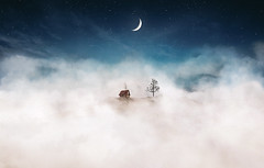 Leave me to dream. (Night and Mood photographs from Finland) Tags: dream clouds stars moon house barn mountain mood