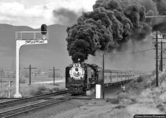 Highball Henefer (jamesbelmont) Tags: unionpacific alco 484 steam 8444 henefer utah signal cantilever evanstonsubdivision echo train railroad railway locomotive