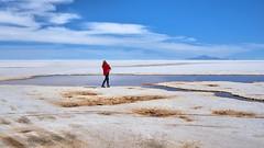 Lady in Red - Salar de Uyuni - Bolivia (W_von_S) Tags: salardeuyuni bolivia bolivien salzsee salar uyuni wüste desert lake salt landschaft landscape paysage paesaggio person lady red blue white rot blau weis wvons werner wolken clouds himmel sky sony sonyilce7rm natur nature