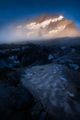 Glacial Moonscape (AirHaake) Tags: swiss switzerland swissalps glacier mountain blue orange mist fog ice landscape