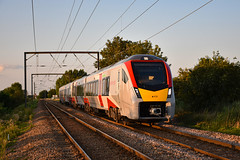 755418 - Waterbeach - 13/08/19. (TRphotography04) Tags: greater anglia stadler 755418 passes waterbeach with 1k91 1840 norwich cambridge
