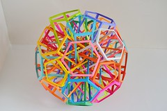 6 Interlocking Pentagonal Prisms+ 10 Interlocking Irregular Hexagonal Prisms (Byriah Loper) (Byriah Loper) Tags: origami origamimodular modularorigami modular byriahloper byriah paperfolding paper polygon polyhedron pentagonal wireframe kusudama