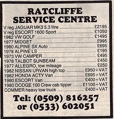 1987 ADVERT - RATCLIFFE SERVICE CENTRE PHOENIX HOSE A46 RATCLIFFE ON THE WREAKE LEICESTERSHIRE (Midlands Vehicle Photographer.) Tags: 1987 advert ratcliffe service centre phoenix hose a46 on the wreake leicestershire used car dealer list