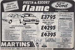 1987 ADVERT - MARTINS FORD MAIN DEALERS - LEICESTER ROAD MARKET HARBOROUGH LEICESTERSHIRE (Midlands Vehicle Photographer.) Tags: 1987 advert martins ford main dealers leicester road market harborough leicestershire fiesta escort flame limited edition
