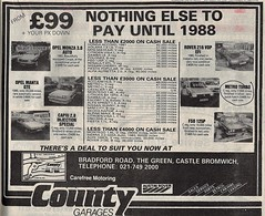 1987 ADVERT - COUNTY GARAGES - AUSTIN ROVER DEALERS - BRADFORD ROAD CASTLE BROMWICH WEST MIDLANDS (Midlands Vehicle Photographer.) Tags: 1987 advert county garages austin rover dealers bradford road castle bromwich west midlands