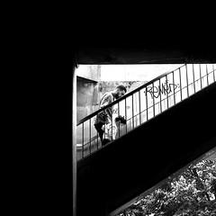 Carefully (pascalcolin1) Tags: paris homme man enfant child escalier marches stairs steps carré square lumière light ombre shadow photoderue streetview urbanarte noiretblanc blackandwhite photopascalcolin 50mm canon50mm canon