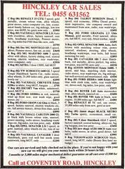 1987 ADVERT - HINCKLEY CAR SALES - USED CAR DEALERS COVENTRY ROAD HINCKLEY (Midlands Vehicle Photographer.) Tags: 1987 advert hinckley car sales used dealers coventry road