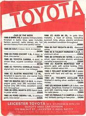 1987 ADVERT - LEICESTER TOYOTA - NEW CAR DEALERS - WALNUT STREET LEICESTER (Midlands Vehicle Photographer.) Tags: 1987 advert leicester toyota new car dealers walnut street
