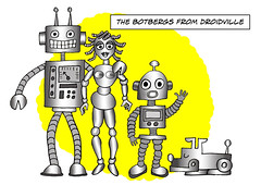 The Botbergs (Ivan Kaminoff) Tags: robots androids droids artificialpeople cartoon photoshop family robotics husband wife son dog