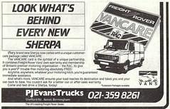 1987 ADVERT - P J EVANS TRUCKS BIRMINGHAM - FREIGHT ROVER OFFER (Midlands Vehicle Photographer.) Tags: 1987 advert p j evans trucks birmingham freight rover offer