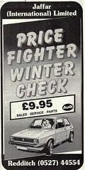 1987 ADVERT - VW WINTER CHECK - JAFFAR INTERNATIONAL LIMITED REDDITCH (Midlands Vehicle Photographer.) Tags: 1987 advert vw winter check jaffar international limited redditch