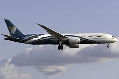 Oman Air 787-9 A4O-SF at London Heathrow LHR/EGLL (dan89876) Tags: oman air boeing 787 dreamliner b789 7879 a4osf london heathrow international airport landing runway 27l lhr egll