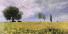 Mother Nature's Son (Loegan Magic) Tags: secondlife landscape field wall trees grass flowers sky clouds