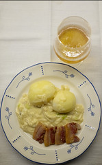 Pork Belly... (peter_hasselbom) Tags: food meal potato porkbelly onion sauce plate glass beer fujifilm