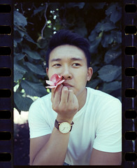 cardi wong // cinestill (MarvinHrrr) Tags: pink people white man flower shirt asian holding young romance smoking actor yashica 230af 800t cinestill portrait canada male green film leaves vancouver analog vintage model columbia retro british