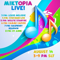 Miktopia Live Tonight August 14 (I Am Jess) Tags: secondlife live music miktopia lexus melodie stayaway joe wolfie starfire camme carver raspbury rearwin ry anne