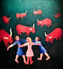 Girls and oxen (Undated) - Sarah Affonso(1899-1982) (pedrosimoes7) Tags: sarahaffonso girlsandoxen meninasebois caloustegulbenkianmuseumsãosebastiãodapedreira lisbon portugal red rosso rouge vermelho artgalleryandmuseums