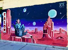 Space Salon by Melissa Vasquez (wiredforlego) Tags: graffiti mural streetart urbanart aerosolart publicart lasvegas las vegas nevada melissavasquez pink artsdistrict