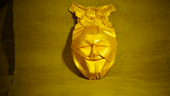 Origami mask 2 by Fynn Jackson with Double Pleat Hexagon Tessellation by Eric Gjerde (ilja11) Tags: mask gold origami face head paper papercraft origamimask fynnjackson ericgjerde geometry jacksonsorigami