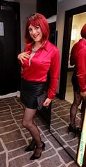 Secretary 1 (eileen_cd) Tags: redhead redblouse miniskirt stockings highheels clutch bag mirror glasses bra standing crossdresser transvestite cd tv