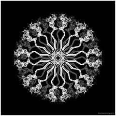 Monochrome Smoke Art Composite (Nefise H) Tags: adobe photoshop cc nikon digital smokeart smokemirror incense repetition geometric experimental symmetry circular flashphotography colouredsmoke colour blackandwhite monochrome nefisehusseinphotography
