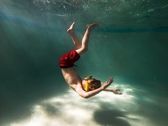 Sinking (Elizabeth Sallee Bauer) Tags: active blue boy bubbles child childhood clean family floating fresh fun girl goggles hotel kid light playing pool summer swim swimming underwater water youth