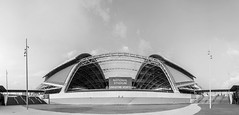 National Stadium (Robycrux) Tags: huge imponente massive bw black white breathtaking iconic icon street photo creativity creative inspiration bloc glow modern travel urban structure architectual public building singapore architecture places cityscapes asia destinations fisheye geometry lines shape arkitektur geometriy canon staring light shadow lightandshadow happy planet favorites enorme negro blanco puente icónico viajes urbano estructura arquitectónico geometría líneas forma national stadium