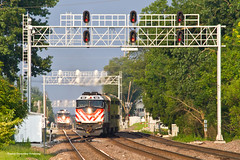 Metra BNSF West Line - Downers Grove (tim_1522) Tags: railroad railfanning rail illinois il burlingtonnorthernsantafe bnsf burlingtonnorthern bn racetrack chicago sub subdivision emd metra passenger commuter f40phm2 f40ph3 signalbridge