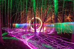 lighting mess (scienceduck) Tags: scienceduck 5c4rt 2019 august wideangle night lightpainting on ontario canada albionhills albionhillsconservationarea camping steelwool fire laser laserpointer lights forest trees woods sparks