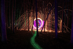 the path (scienceduck) Tags: scienceduck 5c4rt 2019 august wideangle night lightpainting on ontario canada albionhills albionhillsconservationarea camping steelwool fire laser laserpointer lights forest trees woods sparks