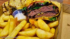 Wagyu beef wrap and chips (garydlum) Tags: aioli barbecuesauce beef hotchips lettuce onion tomato wagyu wrap canberra australiancapitalterritory australia