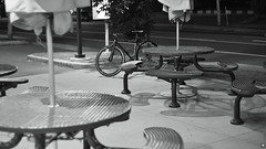 Night Ride Lunch Time (Sylvain Ritchot) Tags: bicycle bw blackwhite blackandwhite citylife fixedgear fujifilm 7artisan35mm xpro1