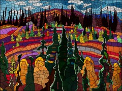 Lake Superior Country, Tribute to A.Y. Jackson in Stained Glass (alexvbisme) Tags: digitalart mosaic stainedglass ayjackson landscape art awardtree