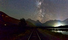 Train to the Galaxy (John Andersen (JPAndersen images)) Tags: alberta aurora banff canmore canon colours gaplake milkyway pano park sky stars tamron