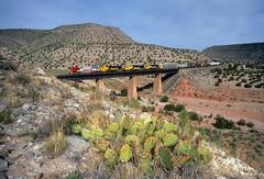 Across Abo Arroyo (Moffat Road) Tags: atchisontopekasantafe atsf santafe bridge canyon warbonnetsuperfleet abocanyon sais newmexico train railroad locomotive emd sd75m 201 bridge8738 aboarroyo nm