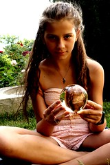 A glass ball (luurrein) Tags: girl glassball naturalbeauty canon