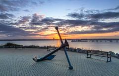 Anchor Flare (nicklucas2) Tags: seascape hythe hampshire sunrise sun water sea pier cloud anchor