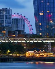 Millennium Eye (JH Images.co.uk) Tags: london londoneye night millenniumbridge bridge city riverthames person standing illuminated hdr dri skyscrapers architecture