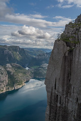 View from Preikestolen (Pulpit Rock) - 4 - 2019 update (enurweb) Tags: outdoor norway lysefjorden fjord prekestolen preikestolen pulpitrock cloud clouds water mountain mountainside mountainridge mountaintop mountainpeak cliff plateau nature landscape watercourse fallout missionimpossible