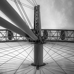 Looking Up at the London Eye (1 of 3) (Patricia Wilden (Away until February)) Tags: lookingup london ©patriciawilden2019 lumixdmcg1k southbank blackandwhite moon monochrome londoneye structure 17nov2018 ride metal landmark sightseeinglondon 14mar2018 pov