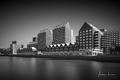 Rotterdam Spoorweghaven II (Alec Lux) Tags: bw bnw rotterdam architecture art black blackandwhite building buildings canal city cityscape exterior facade fine fineart haida haidafilters harbour longexposure netherlands outdoor outside skyline spoorweghaven urban water white