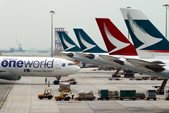 Oneworld...Thousand worlds... (Manuel Negrerie) Tags: airbus jetliner airliners hongkong cx planes avgeeks travel china sightseeing transportation scenery tails logo design airport cheklapkok 香港國際機場 hkia hkg canon life movement aviation world oneworld spotting technology