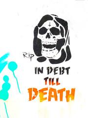 In Debt Till Death (Steve Taylor (Photography)) Tags: skull indebttilldeath rip graffiti stencil streetart black blue orange white yellow uk gb england greatbritain unitedkingdom london