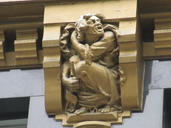 Radiator Building Art Deco Gold Yelling Man Anger Gargoyle 7865 (Brechtbug) Tags: 2019 radiator building art deco angry yelling man gargoyles across bryant park new york public library from midtown manhattan 08142019 nyc shadow cityscape architecture city buildings shadows american standard skyline labor seven 7 deadly sins dragons shark dolphins women men classical garment district gnome ceramic tile golem monster gollum lord rings like creature magic dwarf