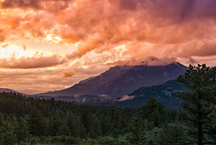 Sunset after the Storm (RkyMtnGrl) Tags: landscape nature scenery mountains clouds valley vista evening sunset storm summer pines firs twinsisters allenspark colorado 2019