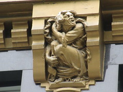 Radiator Building Art Deco Gold Yelling Man Anger Gargoyle 7866 (Brechtbug) Tags: 2019 radiator building art deco angry yelling man gargoyles across bryant park new york public library from midtown manhattan 08142019 nyc shadow cityscape architecture city buildings shadows american standard skyline labor seven 7 deadly sins dragons shark dolphins women men classical garment district gnome ceramic tile golem monster gollum lord rings like creature magic dwarf